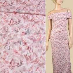Коттон стрейч розовый светлый в серо-розовые бабочки ш.145
