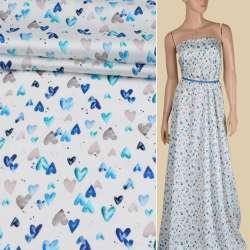 Коттон стрейч белый в синие, бежевые, бирюзовые сердечки, ш.145