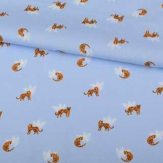 Коттон блакитний, помаранчеві леопарди, білі гілочки, ш.145