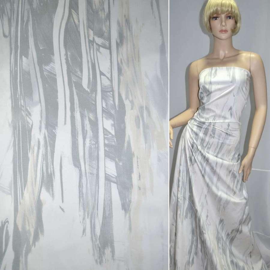 Коттон белый с серо-бежевой абстракцией ш.150