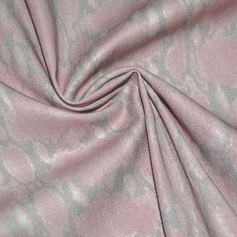 Коттон стрейч розовый в серый абстрактный рисунок с серебристым напылением, ш.150