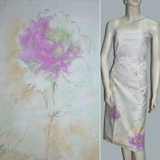 стрейч коттон белый с салатным оттенком и розовыми цве