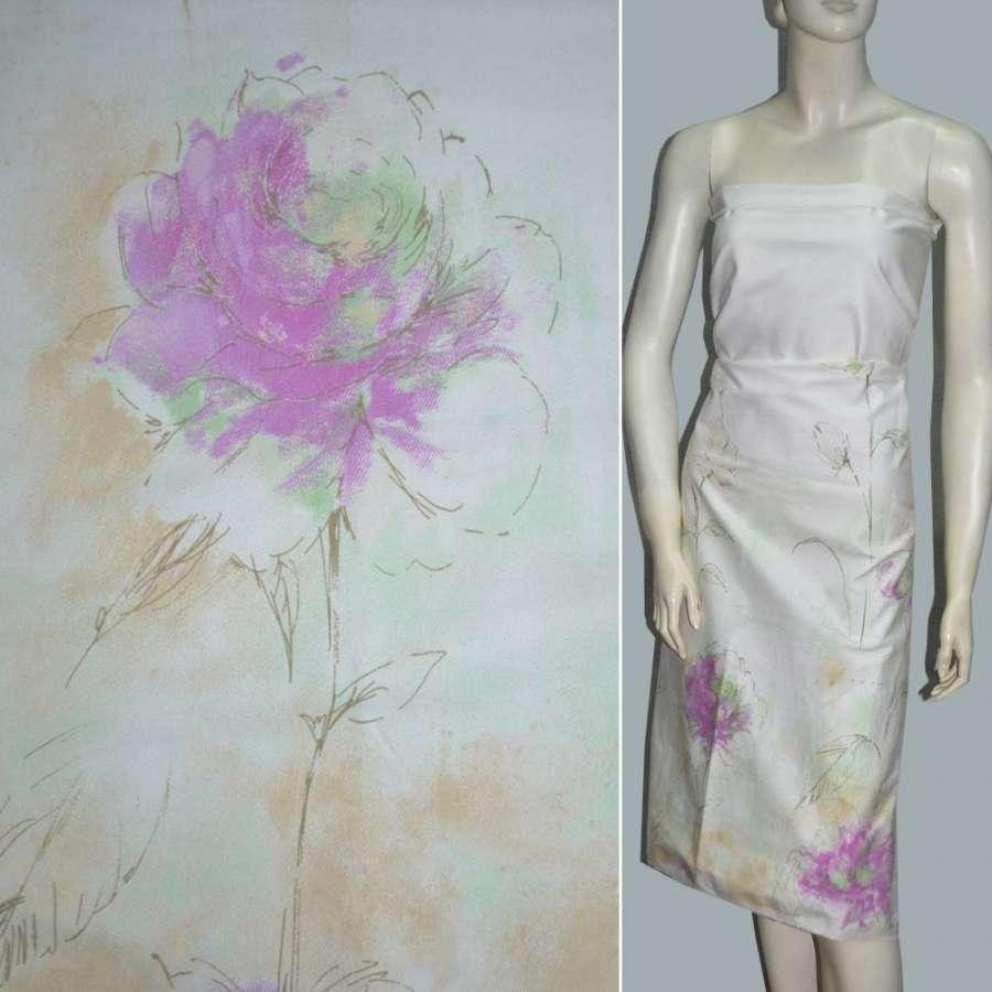 Коттон стрейч белый с салатным оттенком и розовыми цве