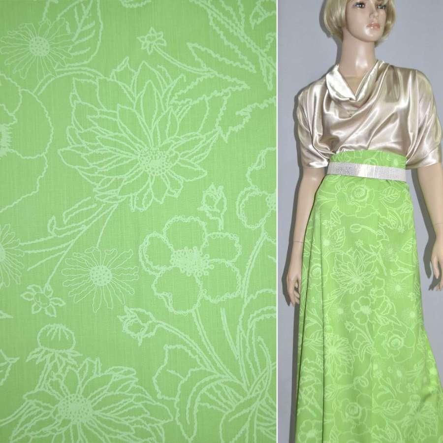 Коттон зеленый светлый с бледными цветами ш.154