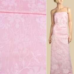 Коттон стрейч розовый с бледно-розовыми цветами ш.152