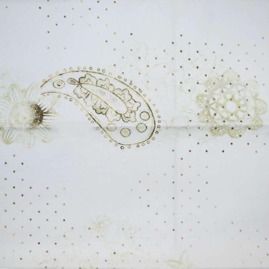 Коттон белый с светло-зелеными цветами и мелким горохом