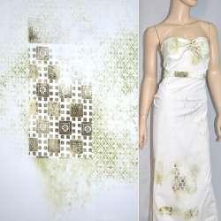 Коттон белый с размытым салатово-бежевым рисунком ш.150