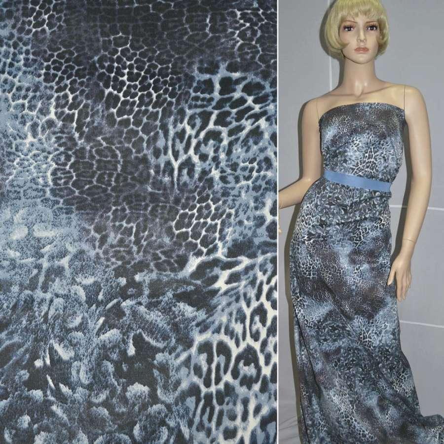 Коттон голубой черный принт леопард ш.135
