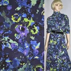 Коттон стрейч синий темный с фиолетово-салатовыми цветами ш.140