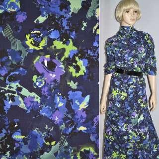 Коттон т/синий с фиолет-салат. цветами стр. ш.140