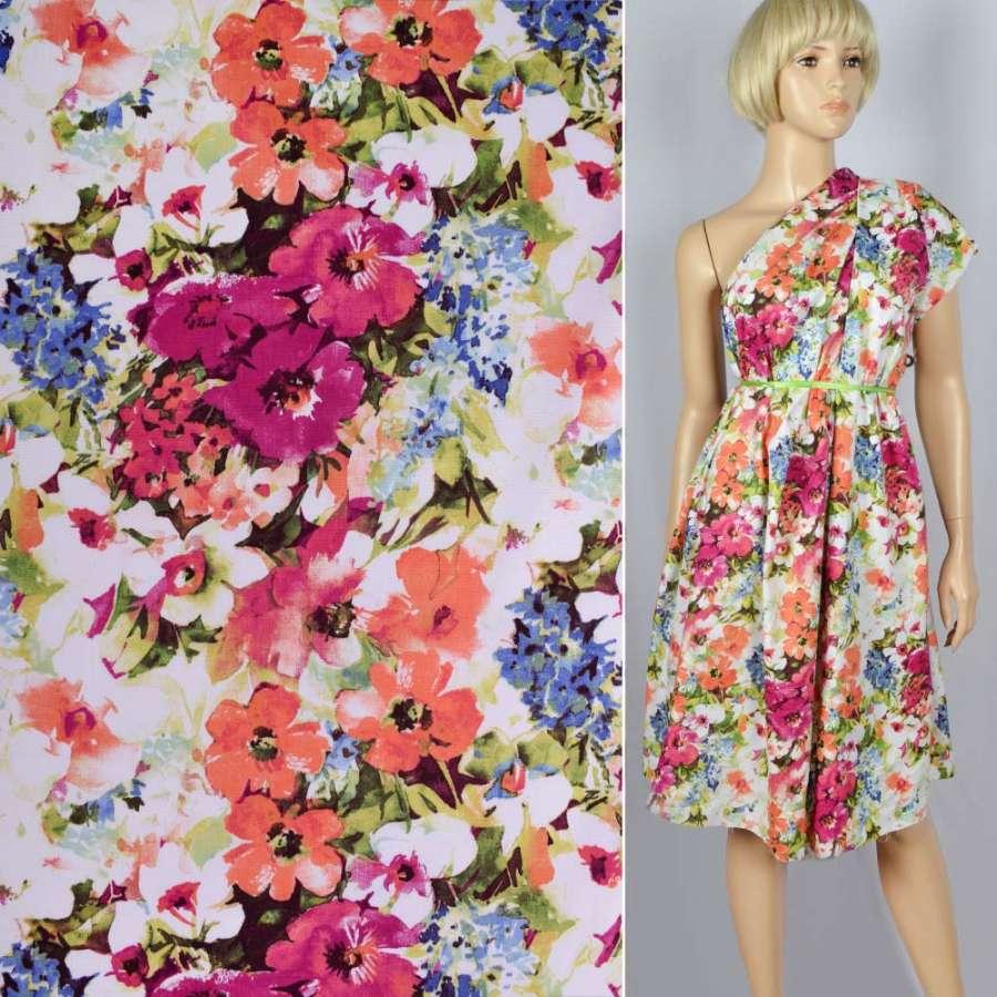 """Коттон стрейч """"Apanage"""" в розово-персиково-голубые цветы ш.145"""
