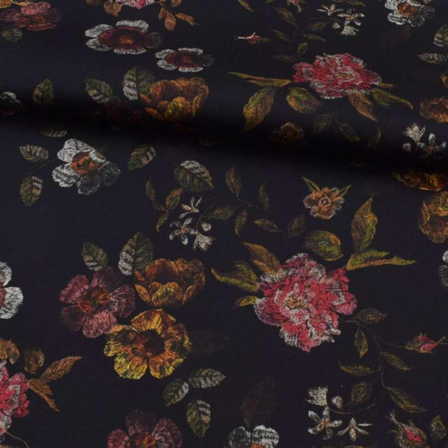 Коттон стрейч черный, розовые, оранжевые цветы, ш.127