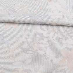 Коттон стрейч молочный в серую полоску, бежевые, белые цветы, ш.140