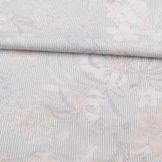 Коттон стрейч молочний в сіру смужку, бежеві, білі квіти, ш.140