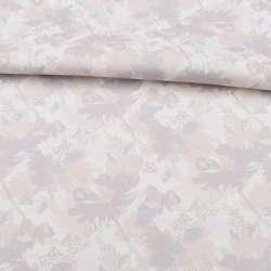 Коттон стрейч белый, бежево-серые цветы, ш.138