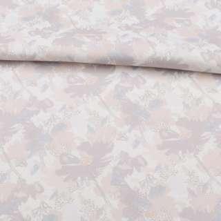 Коттон стрейч білий, бежево-сірі квіти, ш.138