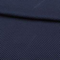 Коттон стрейч синий темный в мелкий белый горох, ш.138