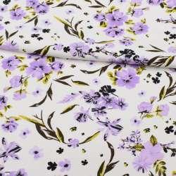 Коттон APANAGE білий, бузкові квіти, ш.150