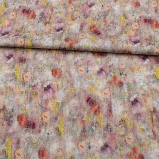 Коттон стрейч APANAGE бежевый, разноцветные акварельные цветы, ш.160
