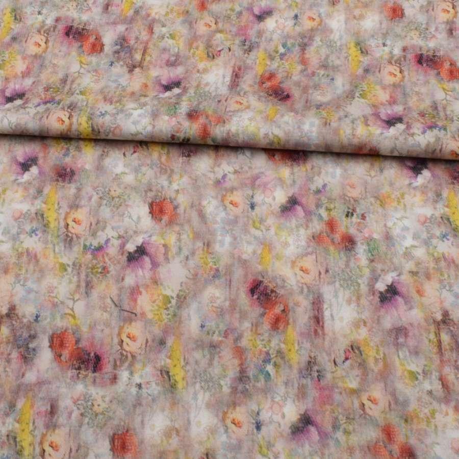 Коттон стрейч APANAGE бежевий, різнокольорові акварельні квіти, ш.160
