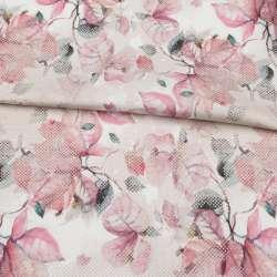 Коттон стрейч APANAGE белый, розовые листья, бежевые точки, ш.128