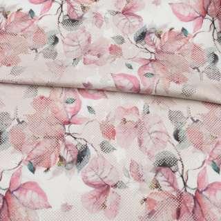 Коттон стрейч APANAGE білий, рожеві листя, бежеві точки, ш.128