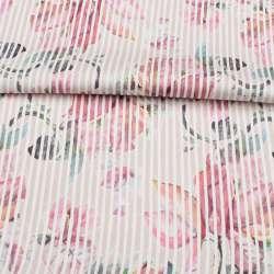 Коттон стрейч APANAGE бежевий, рожеві квіти, біла смужка, ш.128