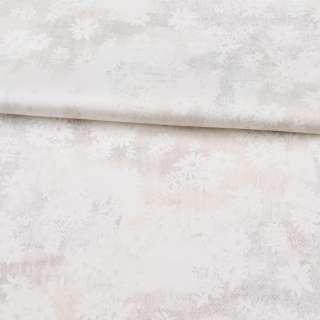 Коттон стрейч APANAGE білий, золотисті дрібні точки, білі квіти, ш.127