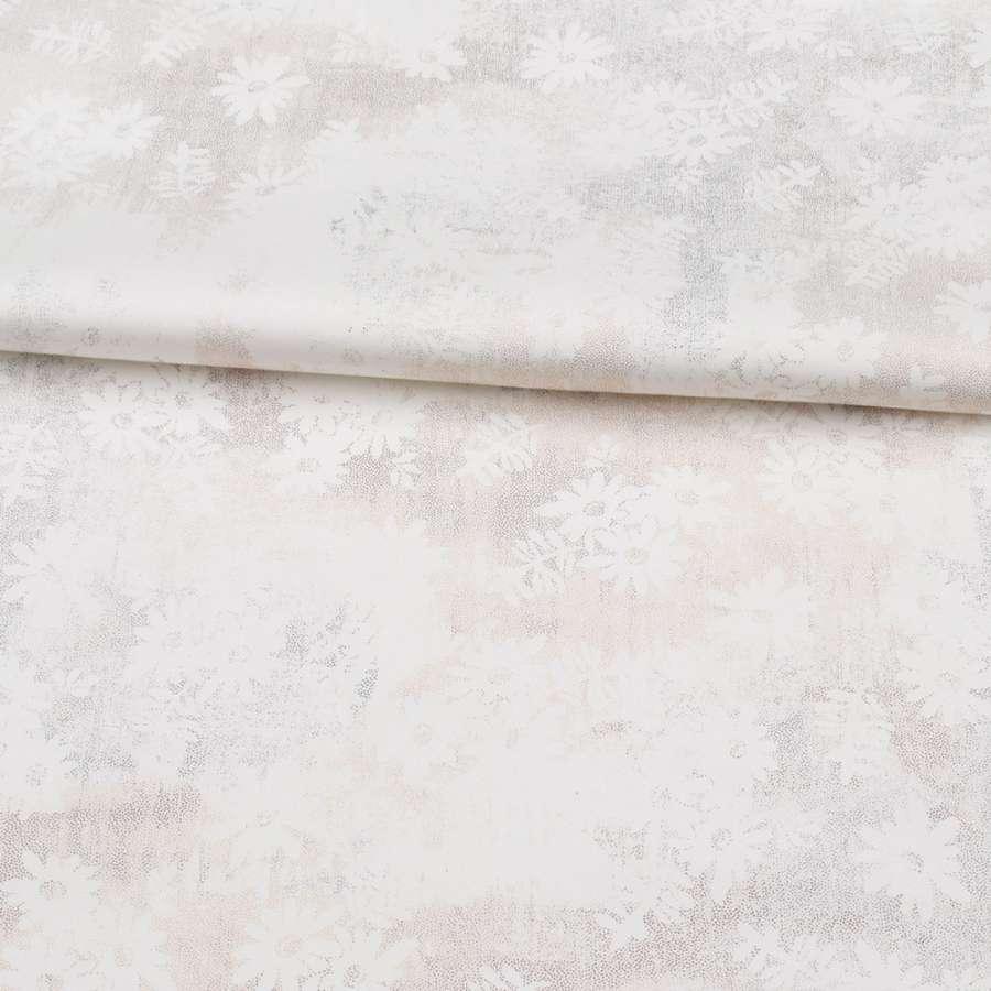 Коттон стрейч APANAGE белый, золотистые мелкие точки, белые цветы, ш.127