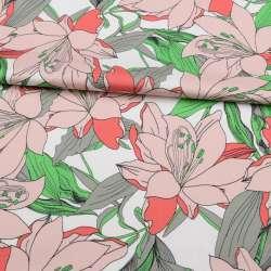 Коттон стрейч APANAGE білий, великі рожеві квіти, зелено-сірі листя, ш.131