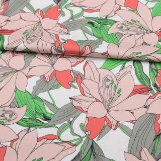 Коттон стрейч APANAGE белый, большие розовые цветы, зелено-серые листья, ш.131