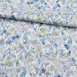Коттон стрейч APANAGE білий, райдужні квіти, ш.135