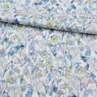 Коттон стрейч APANAGE белый, радужные цветы, ш.135