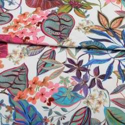 Коттон стрейч APANAGE білий, рожеві, сині квіти, листя, ш.135