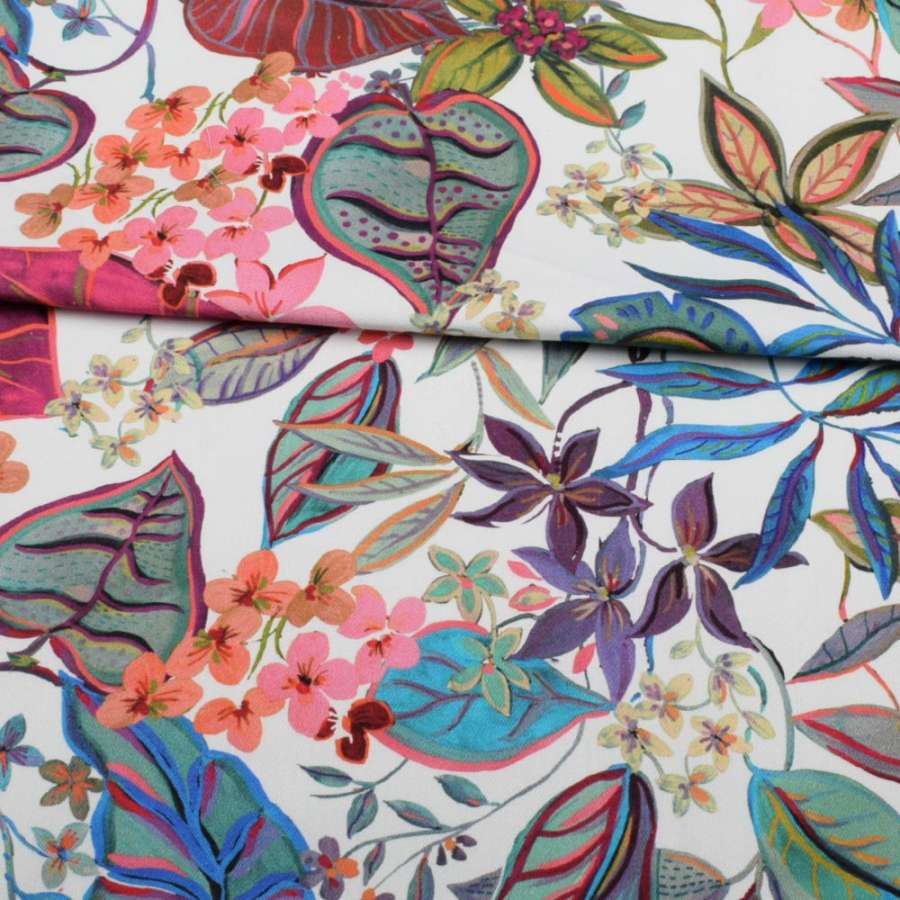 Коттон стрейч APANAGE белый, розовые, синие цветы, листья, ш.135