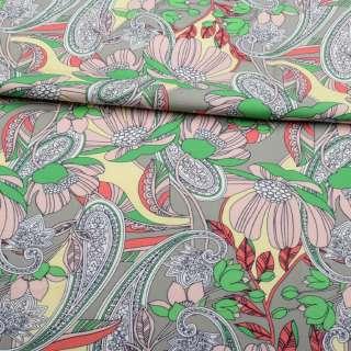 Коттон стрейч APANAGE сірий, рожеві квіти, біло-сині візерунки, ш.135