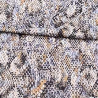 Коттон стрейч APANAGE сіро-бежево-білий принт рептилія, ш.147