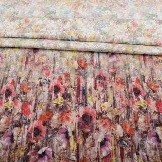 Коттон стрейч APANAGE белый, мелкие акварельные цветы, раппорт 117 см, ш.155