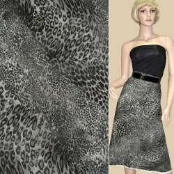Коттон деним стрейч с флоковым рисунком леопард серый ш.150