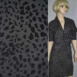 Коттон деним с флоковым рисунком леопард черный