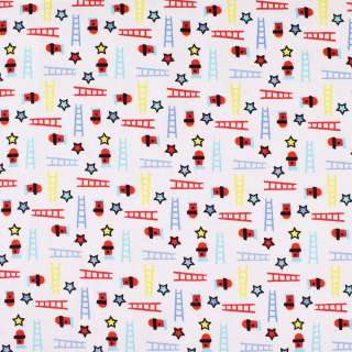 """Коттон """"Druck""""белый в красные,голубые,желтые звезды и лесницы ш.140"""