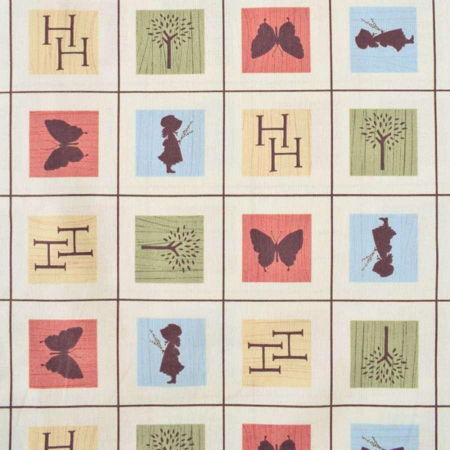 "Коттон ""Holly Hobbie"" молочный в клетку с зелено-бежевыми квадратами ш.110"
