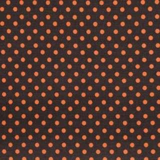 """Коттон """"Druck"""" коричневый в оранжевый мелкий горох ш.142"""