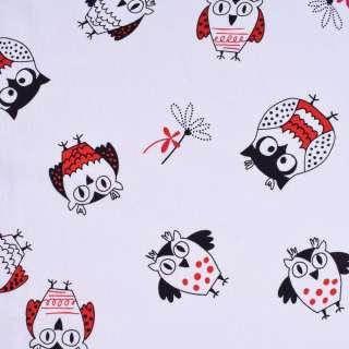 """Коттон """"Druck"""" білий в чорно-червоні сови ш.140"""