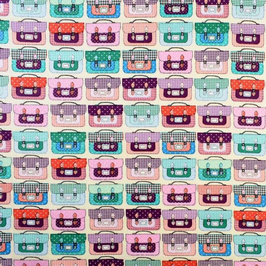 Коттон кремовый в разноцветные чемоданы, ш.145