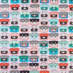 Коттон розовый в разноцветные чемоданы, ш.145