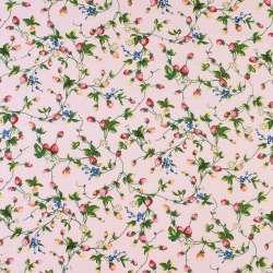 Коттон розовый в красные клубнички и белые цветы, ш.146