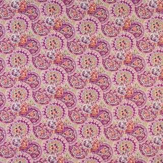 Коттон ліловий в кола з квітковим візерунком, ш.144