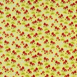 Коттон желтый в красные клубнички и белые цветы, ш.146