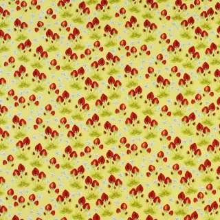 Коттон жовтий в червоні полунички і білі квіти, ш.146